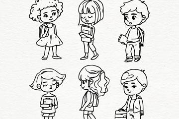 6款手绘返校学生矢量素材