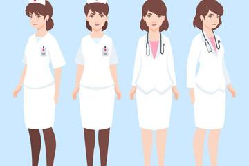 4款创意白衣女医务人物矢量素材
