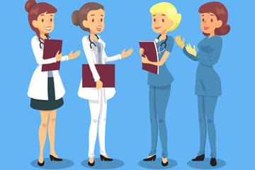 4款创意女医务人物矢量素材