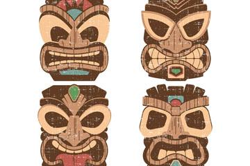 4款创意夏威夷面具矢量素材