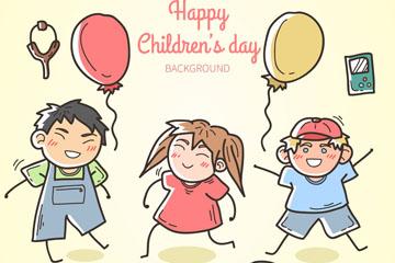 彩绘3个节日儿童矢量素材