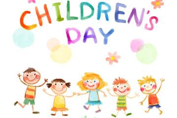 彩绘儿童节5个男孩和女孩矢量素材