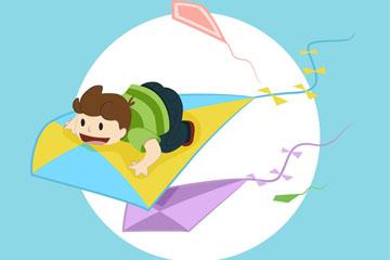创意风筝上的男孩矢量素材