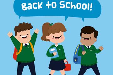 3个卡通返校学生矢量素材