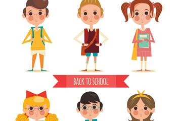 6款卡通返校男孩和女孩矢量素材