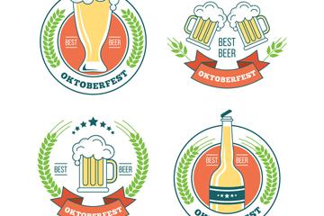 4款创意啤酒节标签矢量素材