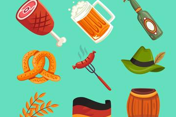 9款彩色啤酒节图标矢量素材