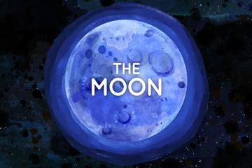 水彩绘蓝色月亮矢量素材