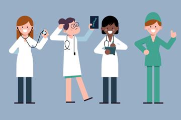 4款创意女性医务人物矢量素材