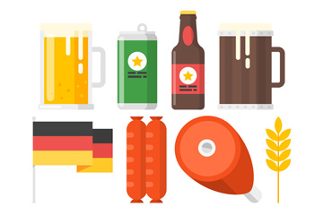 8款彩色啤酒节元素矢量素材