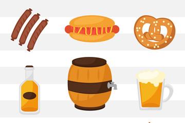 9款创意啤酒节元素图标矢量素材