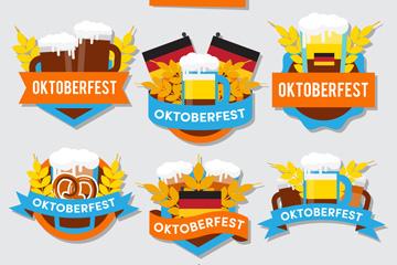 6款彩色慕尼黑啤酒节标签矢量素材