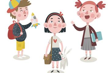 3个可爱卡通返校学生矢量素材