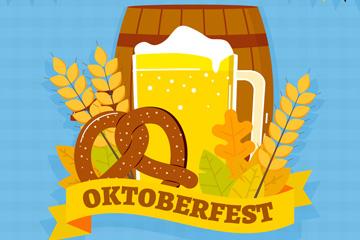 创意啤酒节酒和橡木桶标签矢量图