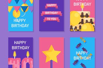 6款创意生日祝福卡片矢量素材