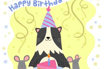 彩绘生日猫咪和蛋糕矢量素材