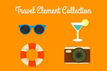 6款彩色旅行图标矢量素材