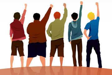 创意青年节5个男子背影矢量素材
