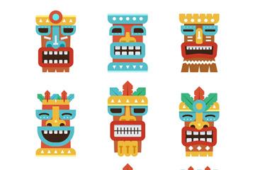 9款彩色夏威夷面具图标矢量素材