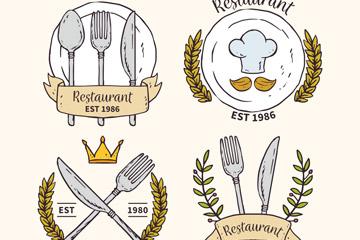 4款彩绘餐馆标志设计矢量素材