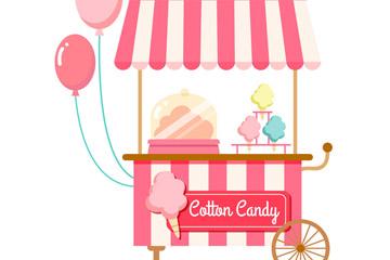 粉色棉花糖车设计矢量素材