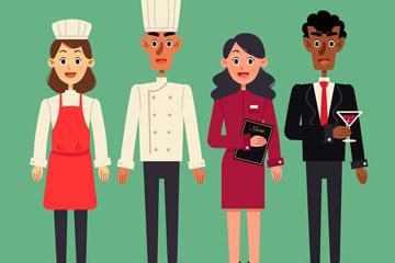 4款创意餐馆职员矢量素材