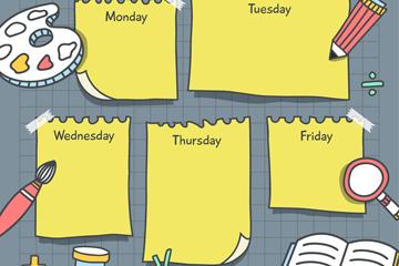创意便利贴校园课程表矢量素材