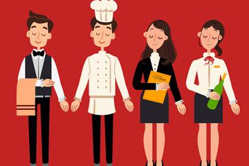 4款创意餐馆人物设计矢量素材