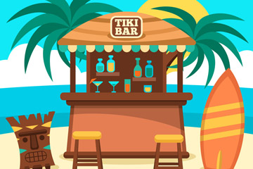 创意夏威夷沙滩酒吧矢量素材
