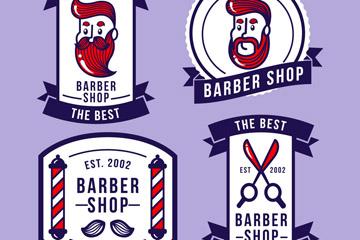 4款彩绘理发店标签矢量素材