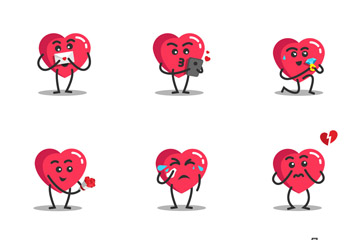 9款红色爱心表情矢量素材