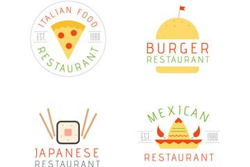 4款创意快餐餐馆标志矢量素材