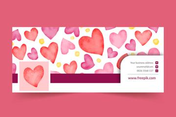 水彩绘爱心脸书封面图片矢量素材
