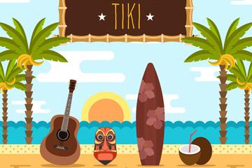 创意夏威夷沙滩风景元素矢量素材