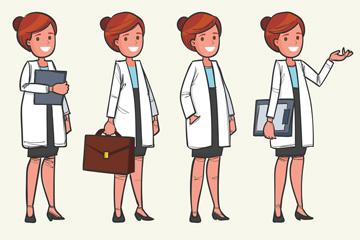4款时尚女医生设计矢量素材