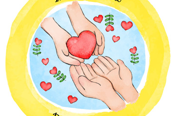 彩绘国际慈善日交换爱心的手臂矢量图
