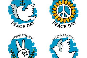 4款彩绘国际和平日标签矢量素材