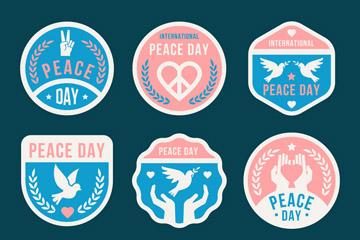 6款彩色国际和平日标签矢量素材