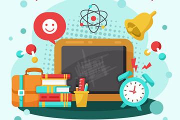创意返校书本和文具矢量素材