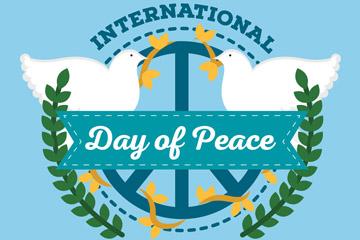 扁平化国际和平日白鸽矢量素材