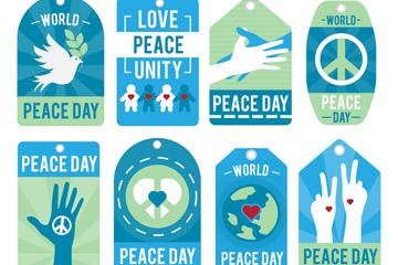 6款蓝色国际和平日吊牌矢量素材