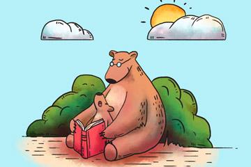 彩绘国际扫盲日读书的熊父子矢量图