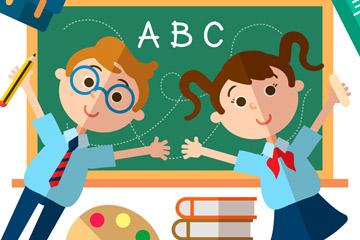 扁平化教室里的男孩和女孩矢量图