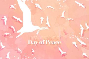彩绘国际和平日白色鸽子群矢量图