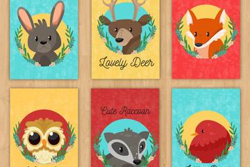 6款可爱野生动物卡片矢量素材