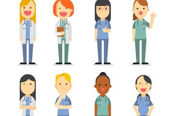 8款创意医务人员设计矢量图
