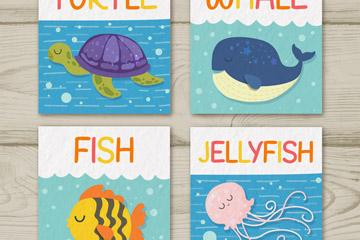 4款彩色海洋生物卡片矢量素材