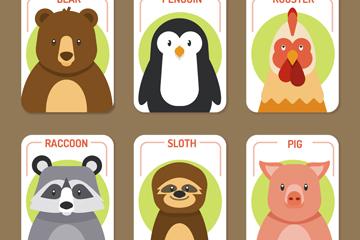6款创意圆角动物卡片矢量素材