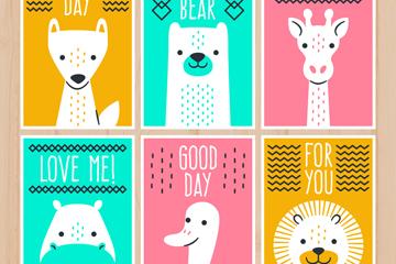 6款创意白色动物卡片矢量素材