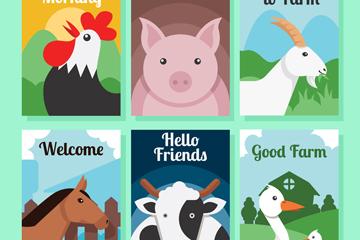 6款创意农场动物卡片矢量素材